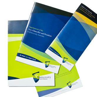 Mightyworld CQU logo branding brochure print design
